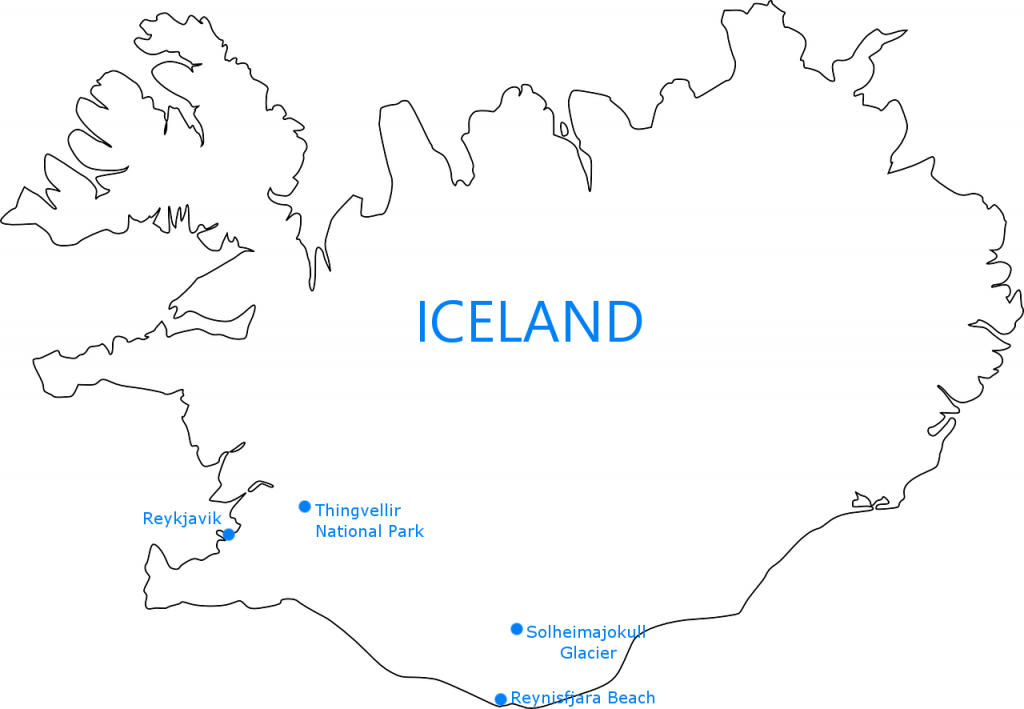 iceland attraction map showing three main tourist spots  - reykjavik thingvellir solheimajokull reynisfjara