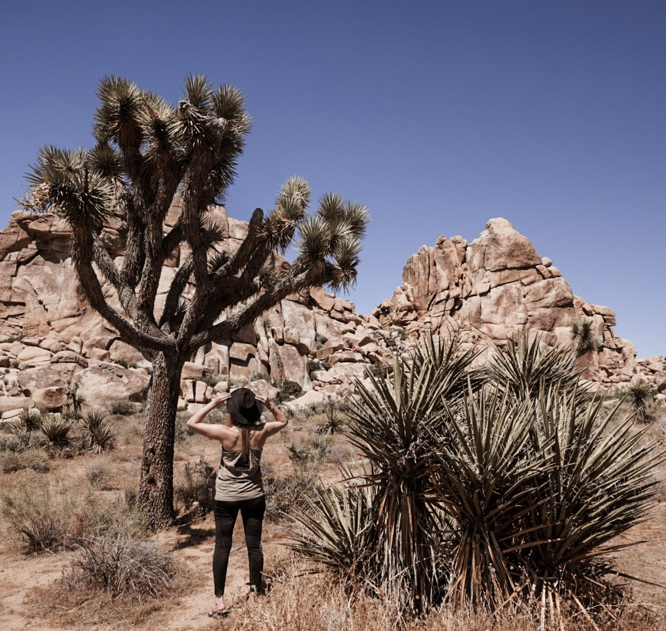 Monica in Joshua Tree, an easy day trip from Palm Springs.