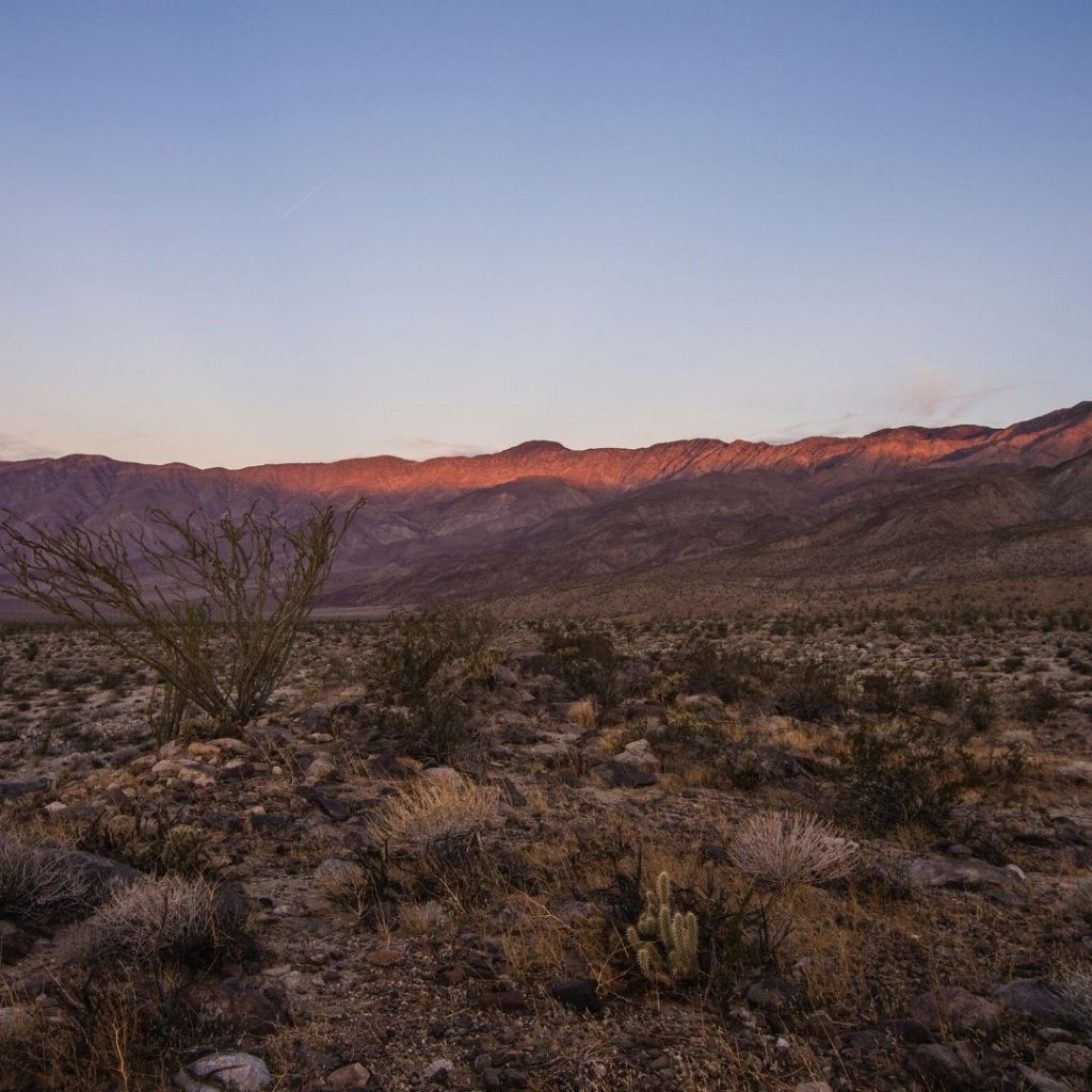 Anza Borrego with blue skies and dry earth.
