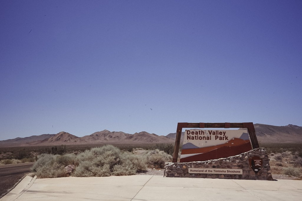 The entrance to Death Valley National Park - one of the Cheap Weekend Getaways in California.