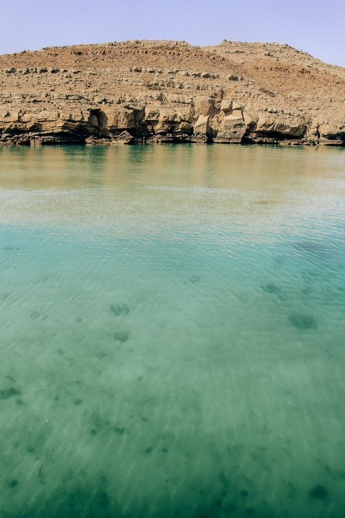 Crystal blue waters of the Persian Gulf, seen off the coast of Oman.