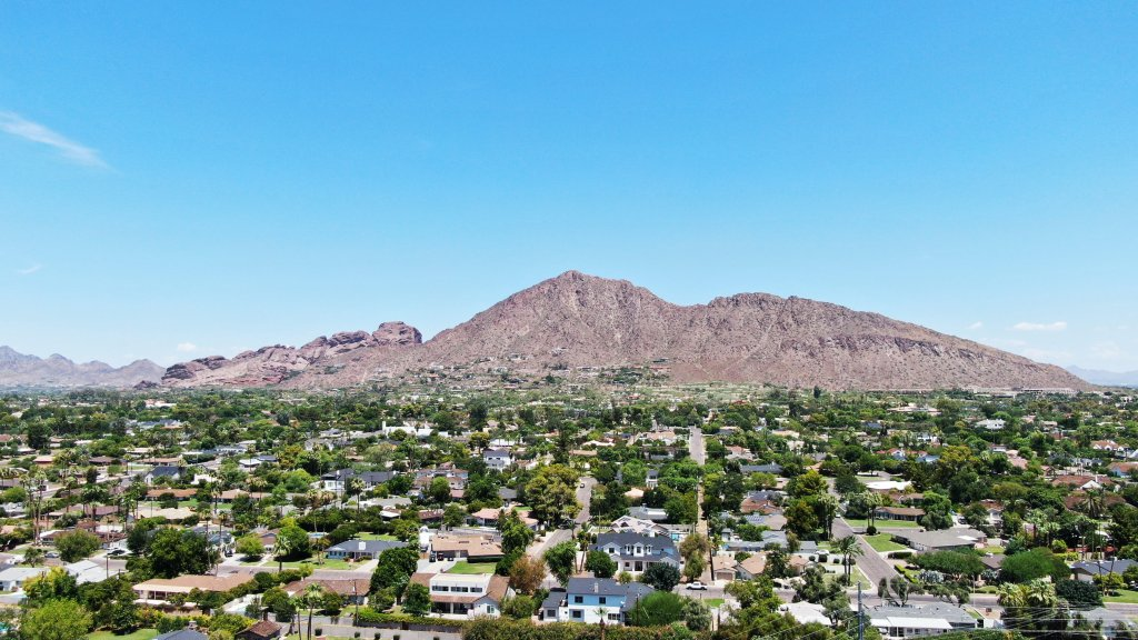 Camelback Mountain overlooking the city.