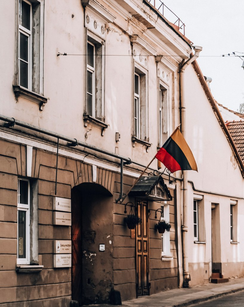 Lithuanian flag in Old Town, Vilnius.