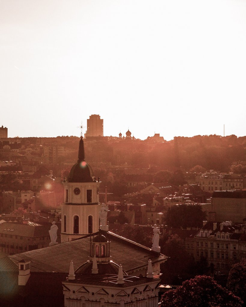 Vilnius in the sunset.  Many attractions can be seen in the distance.