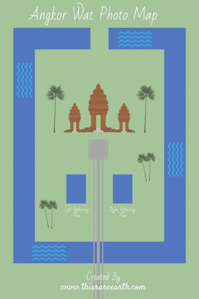 An Angkor Wat graphic showing a map of the pools.