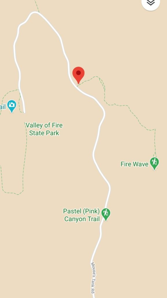 Map location of the Fire Wave hike at Valley of Fire State Park.