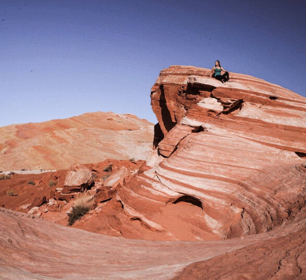 Monica on top of the Fire Wave at Valley of Fire State Park.