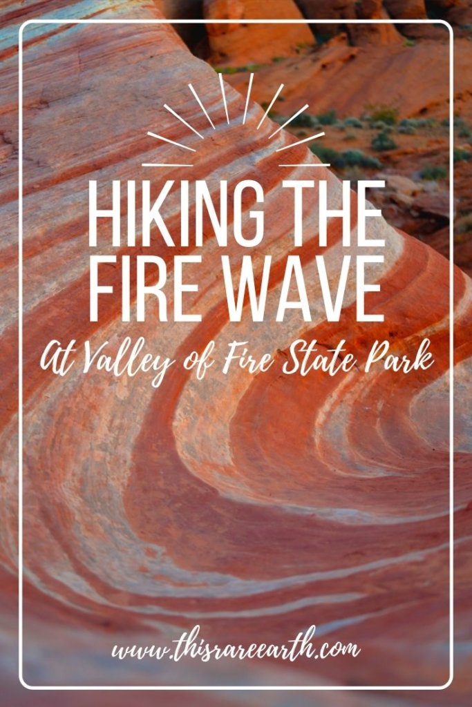 Hiking the Fire Wave at Valley of Fire State Park Pin image, featuring the red rock swirl.