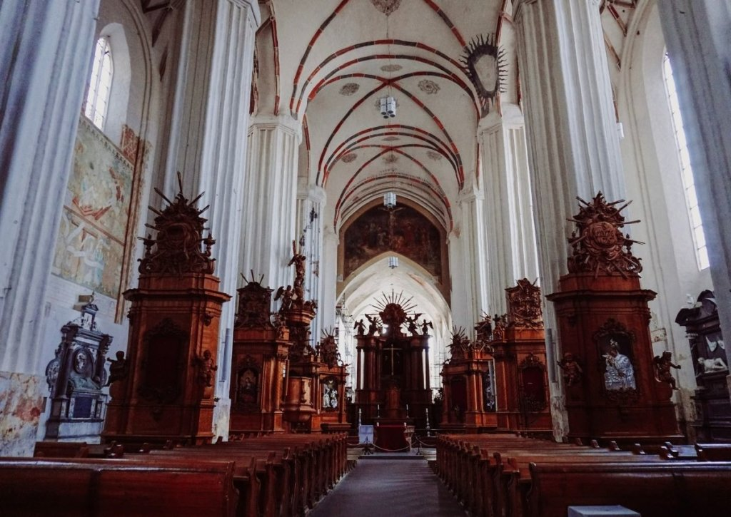 Inside of St. Anne's, one of the top places to see in Lithuania.