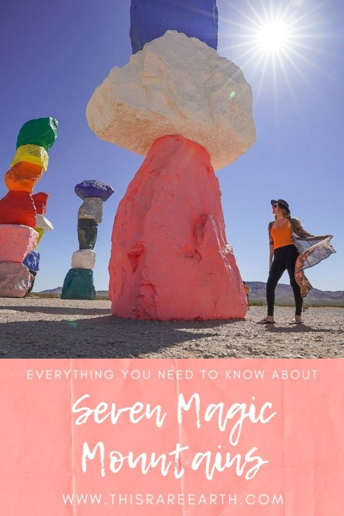 Pink and Blue pinterest pin for seven magic mountains.