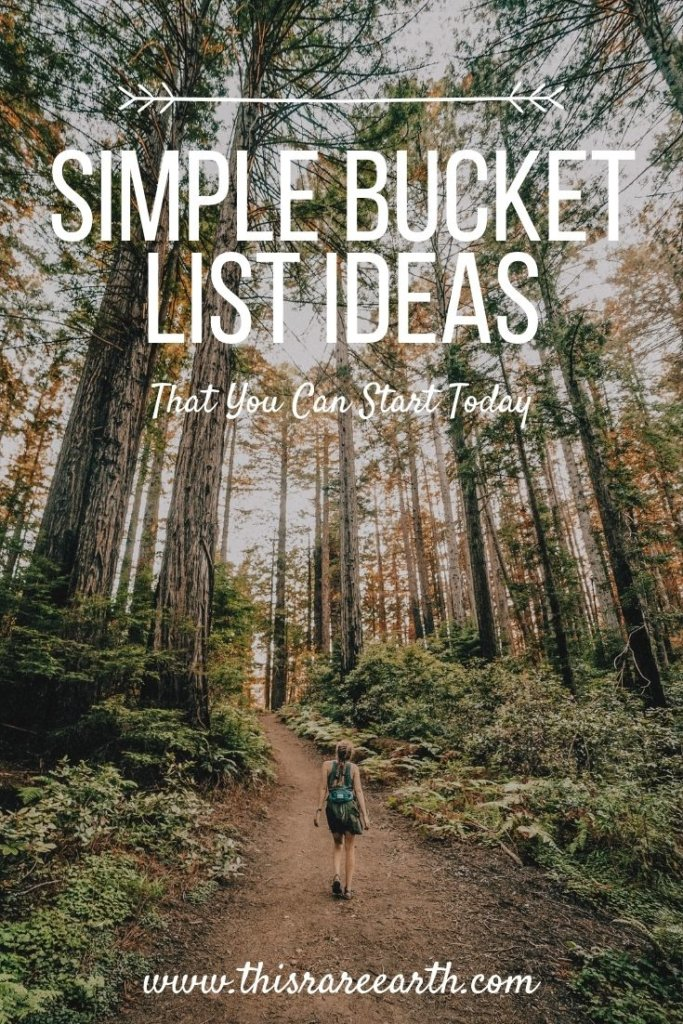 Pinterest pin for simple bucket list items, showing a giel hiking in the woods.