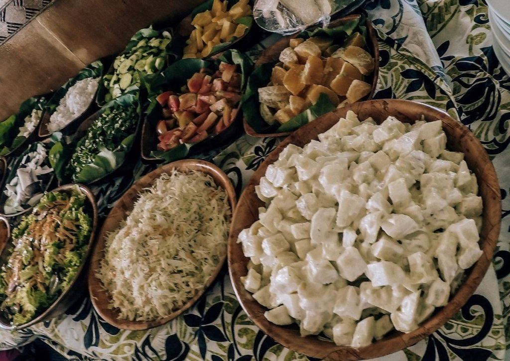Vegetarian lunch options aboard the Vaka Cruise, Cook Islands.