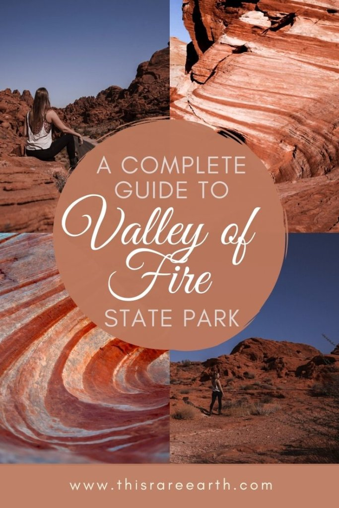 A complete guide to Valley of Fire State Park Pin. showing four images of rock formations.