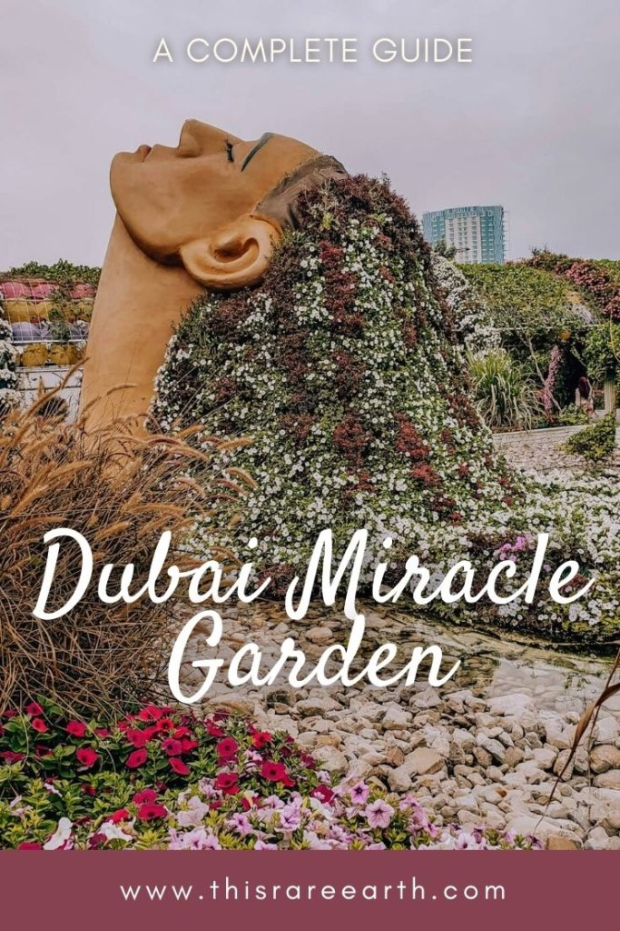 Dubai Miracle Garden Guide Pin featuring a flower sculpture.
