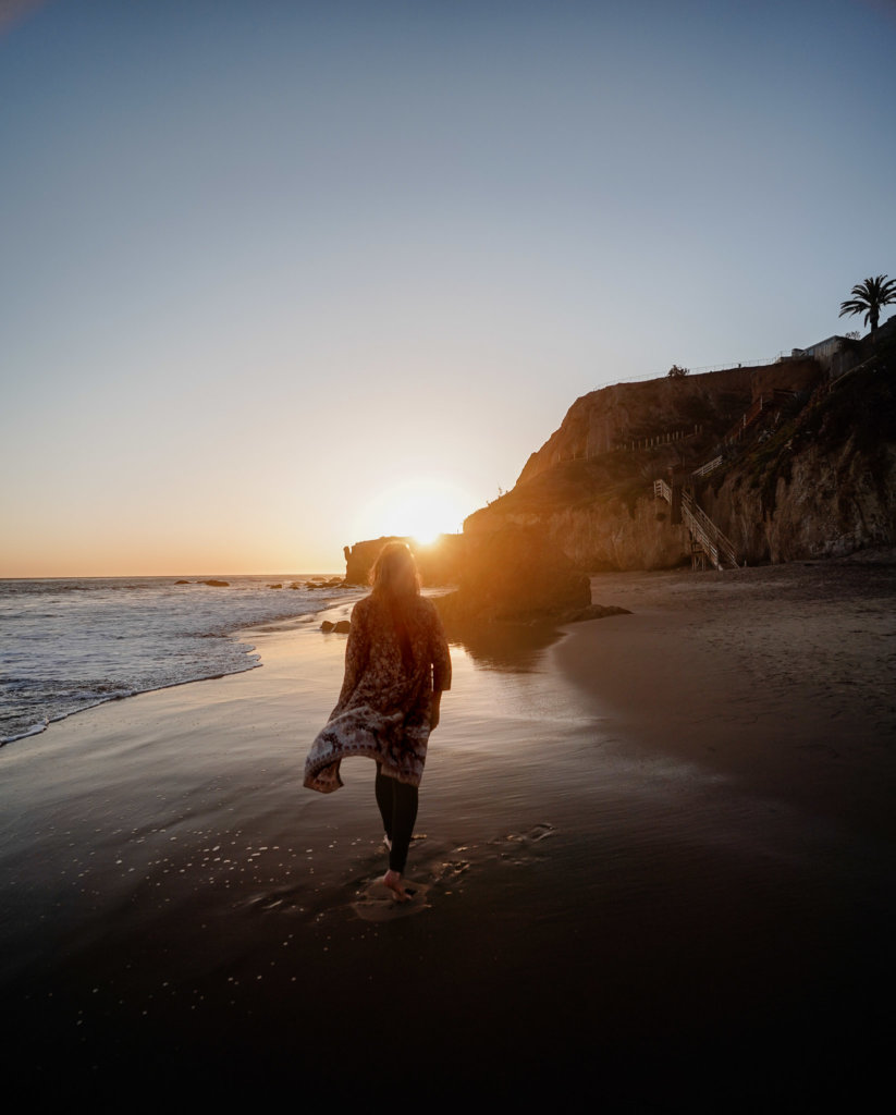 Monica in the sunset of El Matador State Beach.