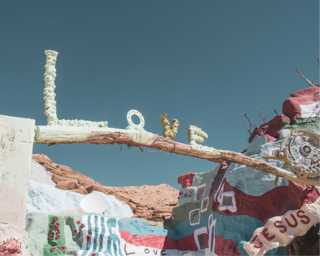Colorful Salvation Mountain - one of the Cheap Weekend Getaways in California.