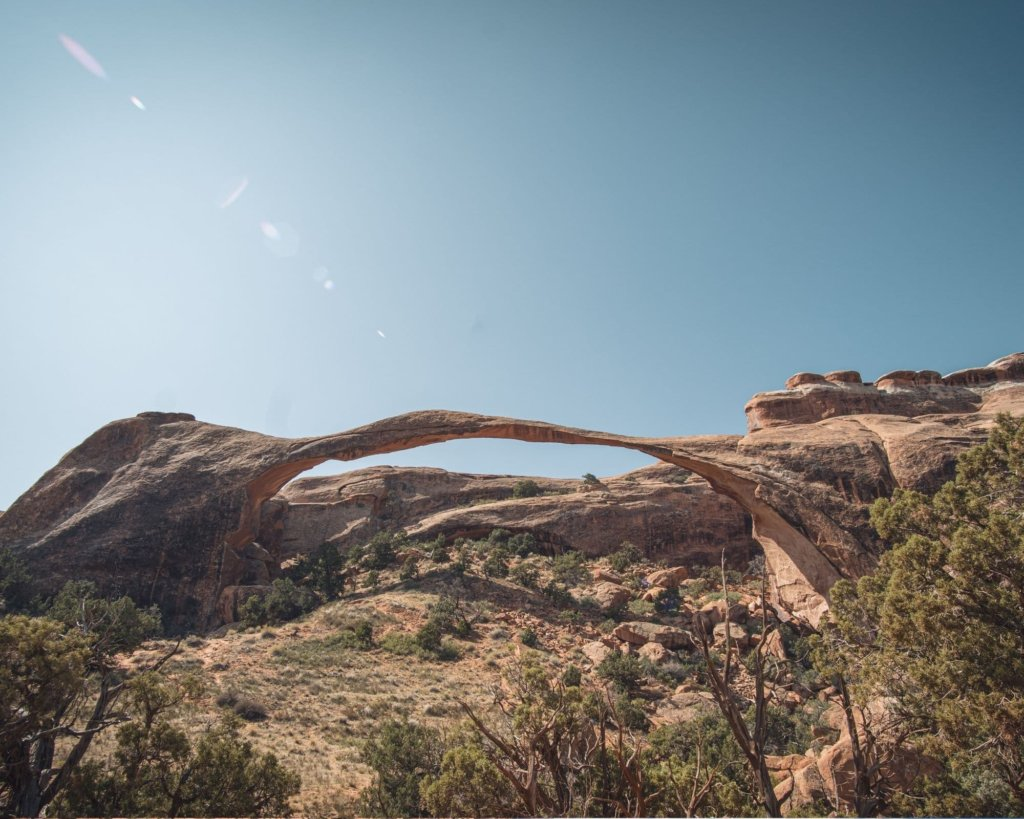 The Devil's Garden with Landscape Arch towering above- one of the Best Hikes in Arches National Park.