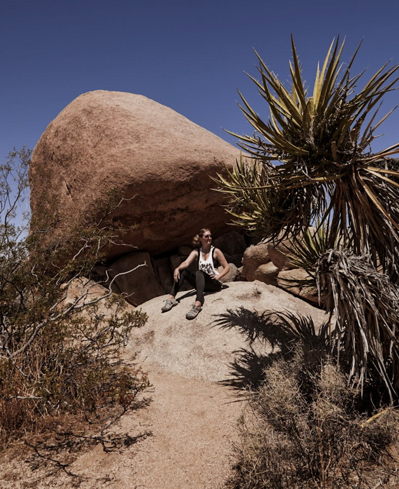 Monica on a hiking trip in Joshua Tree National Park.